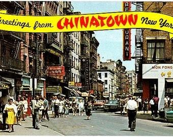 Vintage New York City Postcard - Greetings from Chinatown (Unused)
