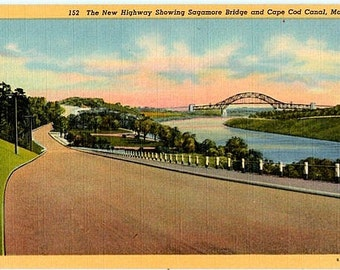 Vintage Cape Cod Postcard - Scenic Highway along the Cape Cod Canal (Unused)