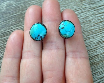 Silver Turquoise Stud Earrings Vintage Southwest Style