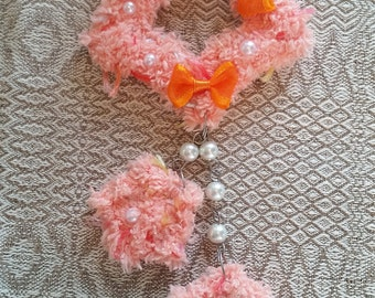 2-Way Orange Bow Fuzzy Shooting Star Barrette/Pin
