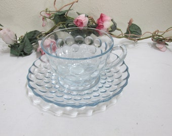 Fire King Bubble Cup and Saucer Blue Sapphire