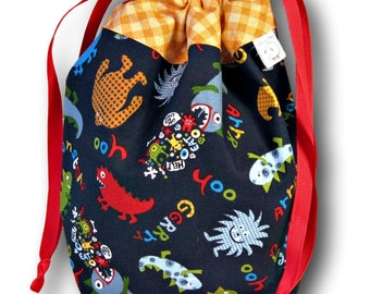 Monsters - One Skein Project Bag for Knitting, Crochet, or Embroidery