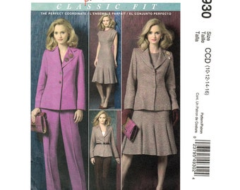 Lined Jacket, Godet Dress, Pants Pattern McCalls 4930 Trousers Palmer Pletsch Womens Sewing Pattern Size 10 12 14 16 UNCUT