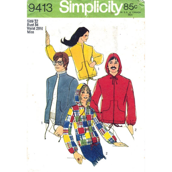 1970s Hoodie Bomber Jacket Pattern Simplicity 9413 Stand-Up Collar Pockets Zipper Bust 34