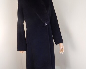 womens wool coat, fur collar, black wool coat,