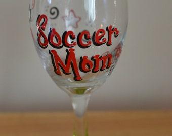 Soccer Mom Wine Glass & Charm, Hand Painted Glass, Soccer Aunt, Soccer Grandma, Gift, Soccer Ball, Baseball, Softball, Sports, Coach, Ball