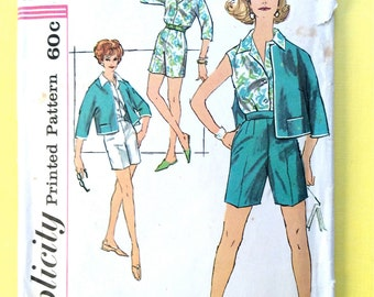 Simplicity 3012 Misses' Sports Separates 1950s Early 60s Slenderette button front blouse, shorts, jacket  Vintage Sewing Pattern Bust 32