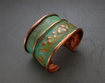 Green Patina Copper Cuff Bracelet, Handmade, Fold Formed, Size Small