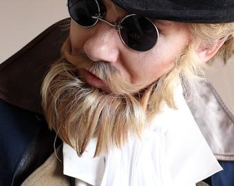 Black Silver Mens Steampunk Round Sunglasses , Gothic Sunglasses , Dark Sunglasses , Costume Glasses , Retro Sunglasses