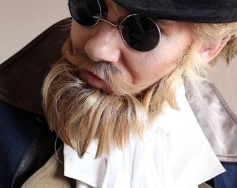 Black Silver Mens Steampunk Round Sunglasses
