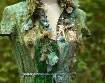 Embellished green Jacket, Top, OOAK refashioned Fantasy art to wear, boho altered couture, reworked blouse. Size Small/Medium. Free shipping