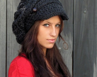 Newsboy Hat Slouchy Hat Slouchy Beanie Tam Crochet Hat Knit Cap Two Leather Button Band Hat Women's Hat - Charcoal Gray or CHOOSE Your color