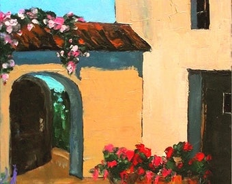 Lynne French Impressionist Painting Provence France Plein Air Courtyard Garden 16x20