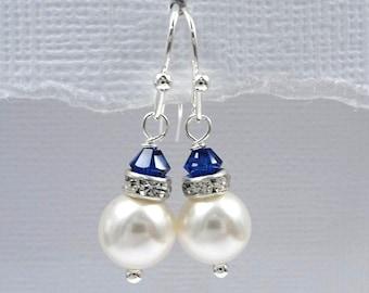 Navy Earrings, White Pearl Earrings, Blue Earrings, Dark Earrings, Bridesmaid Gift, Wedding Earrings, Bridesmaid Gift Earrings