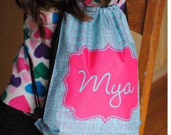 Personalized Drawstring Backpack, Gymnastics Bag, Activity Bag