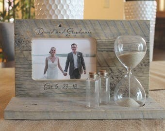 Sand Ceremony Set with Custom Engraving and Hourglass