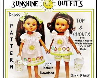 """Sunshine Dress and Top with Shorts Outfit Pattern Tutorial for Hearts For Hearts Wellie Wisher 13"""" to 14 1/2"""" Similar Dolls"""