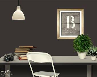 Rustic Wood Custom MONOGRAM & LAST NAME Art Print // 8x10 Wedding Date Wall Art // Personalized Artwork