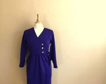 Vintage VIOLET BLUE Wrap Dress / Long Sleeve With Attached Belt / Leslie Fay Petite Collections / Womens Small Medium