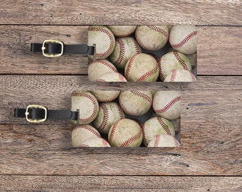 Luggage Tag Set Baseball Sports Lover Luggage Tag Set With Printed Custom Info On Back, 2 Tags Choice of Straps
