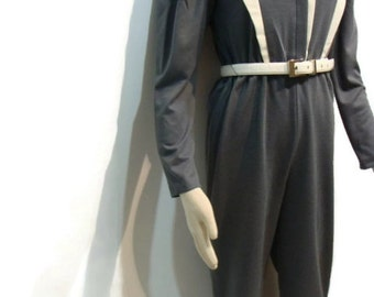 Vintage 70s Jumpsuits For Women Vintage Jumpsuit For Women Vintage Womens Jumpsuit Vintage White and Grey Long Sleeve Jumpsuit