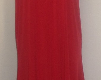 Coco and Juan,  Lagenlook, Plus Size Dress, Red, Traveler Knit,  Angled, Women's Tank Dress, Size 1 (fits 1X,2X,3X)