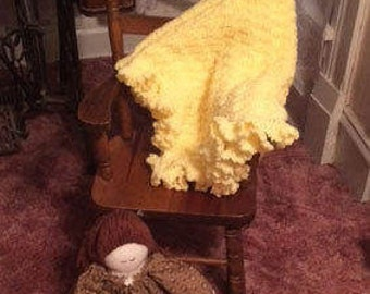 Hand Crocheted Yellow Baby Blanket with Ruffles