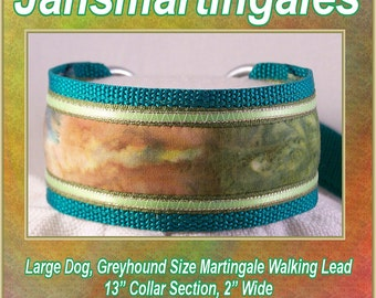 Jansmartingales,  Green Walking Lead, Dog Collar and Lead Combination, Greyhound, Large Dog Size, Grn126