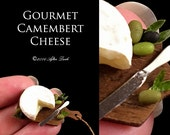 Luxury Camembert set on a Fine handmade Walnut Board - Artisan fully Handmade Miniature Dollhouse Food in 12th scale.