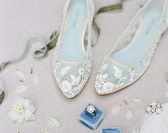 Comfortable Wedding Flats with Flower Beading Bridal Flats - Glass Slipper with 'Something Blue' Bella Belle Shoes Allegra