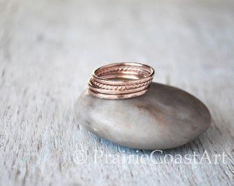 Four Rose Gold Stacking Ring Set - 4 Skinny Rose Gold Rings - 14k Rose Gold-Fill Ring Stack Set
