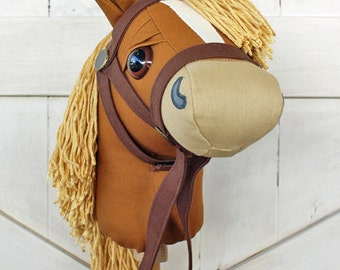 """Stick Horse Mustang Collection """"Nutmeg"""" Golden Broan Hobby Horse Ride On Toy Toddler Size Ready to Ship"""