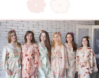 Blush and Ivory Wedding Color Bridesmaids Robes - Premium Soft Rayon - Wider Belt and Lapels - Wider Kimono sleeves