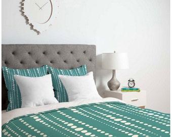 Aqua Dot Duvet Cover // Bedding // Twin, Queen, King Sizes // Home Decor // Bestrewn Lagoon Design // Dots // Geometric // Turquoise // Bed