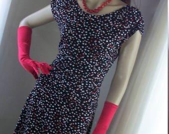 1940s Style Vintage Rayon Polka Dot Swing Dress 90s Era Size M