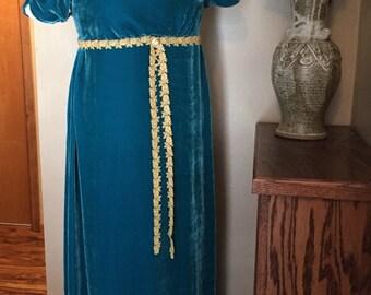 RESERVED Portrait Replica Jane Austen Regency Ball Gown Dress with silk velvet
