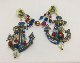 Lunch At The Ritz 1988 Nautical Anchor Beaded Pierced Earrings Vintage LATR