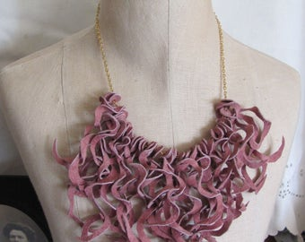 Necklace Beautiful Pink Soft Suede Leather Curly Fringe Necklace Choker (#16) Many to choose from!