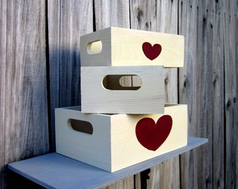 Storage Boxes, Set of Three, Painted Wood, Storage Crate, Whitewashed, Red Heart Design, Crate with Handles, Home Decor, Hand Painted