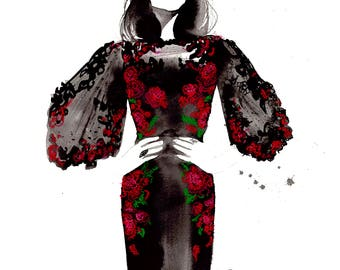 All Rose, print from original watercolor and pastel fashion illustration by Jessica Durrant
