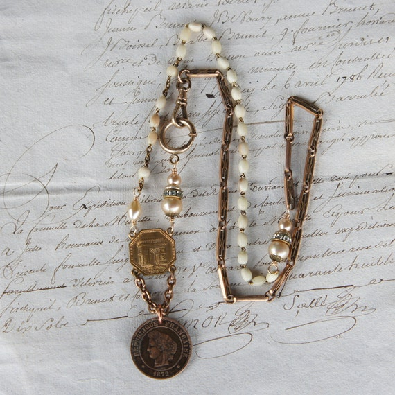 Antique Assemblage Necklace with 1872 French coin, Glass Pearls, Pocket Watch Chain and Bone Rosary Beads
