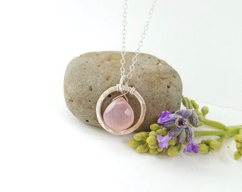 Pink gemstone sterling silver necklace - by Tidepools Jewelry, minimalist silver necklace, mommy jewelry, everyday necklace, gift for her