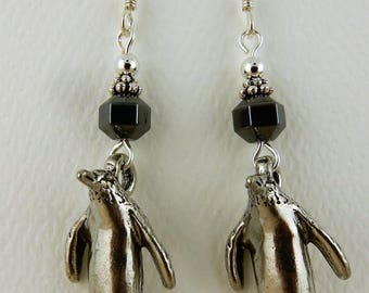 3D pewter penguin dangle earrings with hematite gemstones