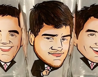 Custom Cool Groomsmen Gift - Groomsman Gift - Caricature Beer Mug - Hand Painted Glass - Best Man Gift - Caricature Glass