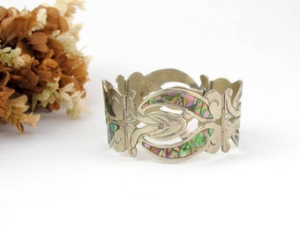 Vintage Taxco Bracelet | Mexico Sterling | Silver Abalone Bracelet | Vintage Art Nouveau Bracelet