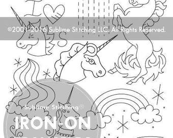 UNICORN BELIEVER- Iron On Hand Embroidery Transfer Patterns / Modern Contemporary Designs Sublime Stitching