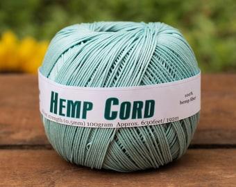 Blue Hemp Cord, 0.5mm, 10lb, 630 Feet, Blue Hemp Twine,  Micro Macrame Cord, Sky Blue