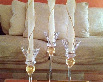 "Set of 3 or 4 Glitter Taper Candle 10"", 6 Colors Available, Beeswax Decorative Candles w/Silver Gold, Colorful Decor, Unique Taper Candles"