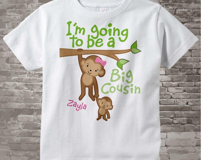 Big Cousin Shirt - Personalized I'm Going to Be A Big Cousin Shirt or Onesie, Monkey Shirt Big Cousin Little Cousin 06172013a