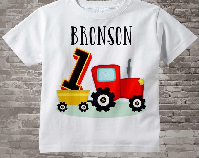 First Birthday Red Farm Tractor Shirt or Onesie, Personalized 1 year old Farmer Shirt or Onesie bodysuit, 1st Birthday tractor 12312016a